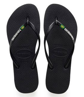 Havaianas Slim Logo Preto Brazil