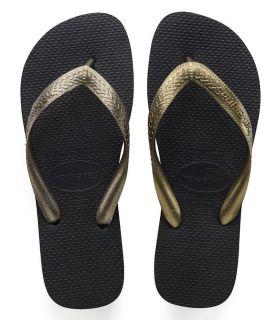 Havaianas Top Tiras Negro Tienda Sandalias / Chancletas Mujer