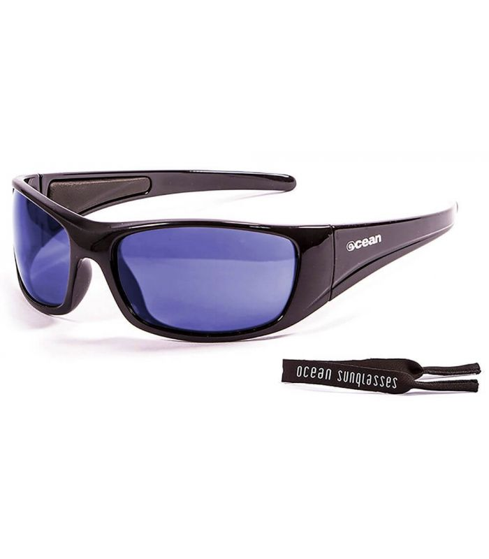 Ocean Bermuda Shiny Black / Revo Blue - Sunglasses Running