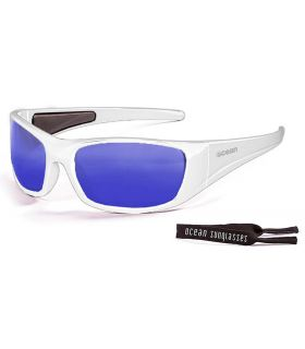 Ocean Bermuda Shiny White / Revo Blue - Sunglasses Running