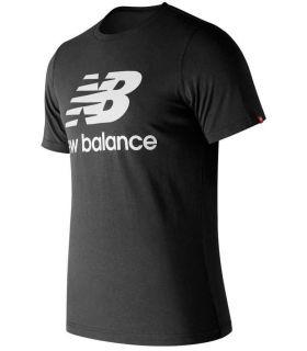 New Balance Essentials Gestapelde Logo Tee Zwart