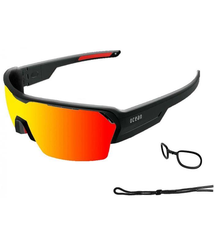 Ocean Race Shinny Black / Red Revo Ocean Sunglasses Gafas de Sol Sport Gafas de Sol Color: negro