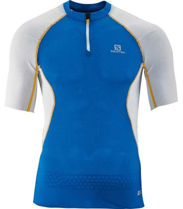 Salomon S-Lab Exo Zip Tee Azul - Camisetas Técnicas Trail Running - Salomon s