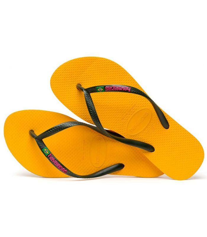 Tienda Sandalias / Chancletas Mujer - Havaianas Slim Brasil Logo Amarillo amarillo Sandalias / Chancletas