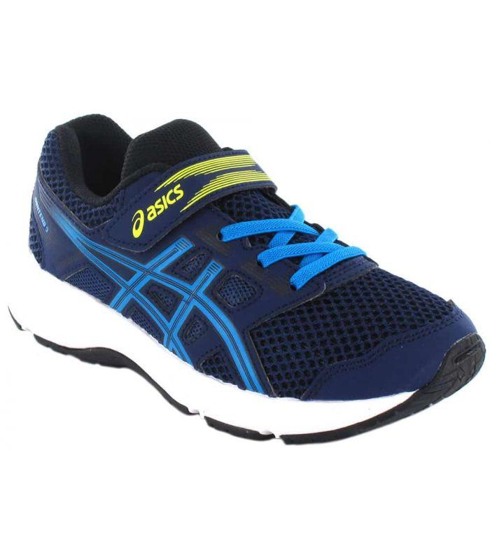 Asics Contenu Ps Bleu Marine Asics Chaussures De Running Enfant Chaussures De Course Running Tailles: 30, 32,5, 33, 33,5, 35,