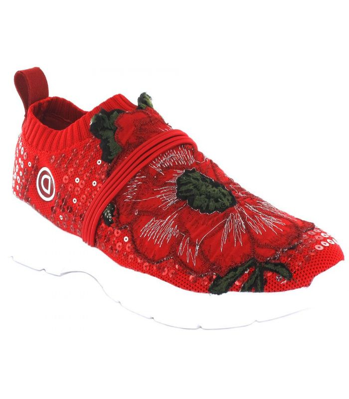 Calzado Casual Mujer - Desigual Flower Knitted rojo Lifestyle