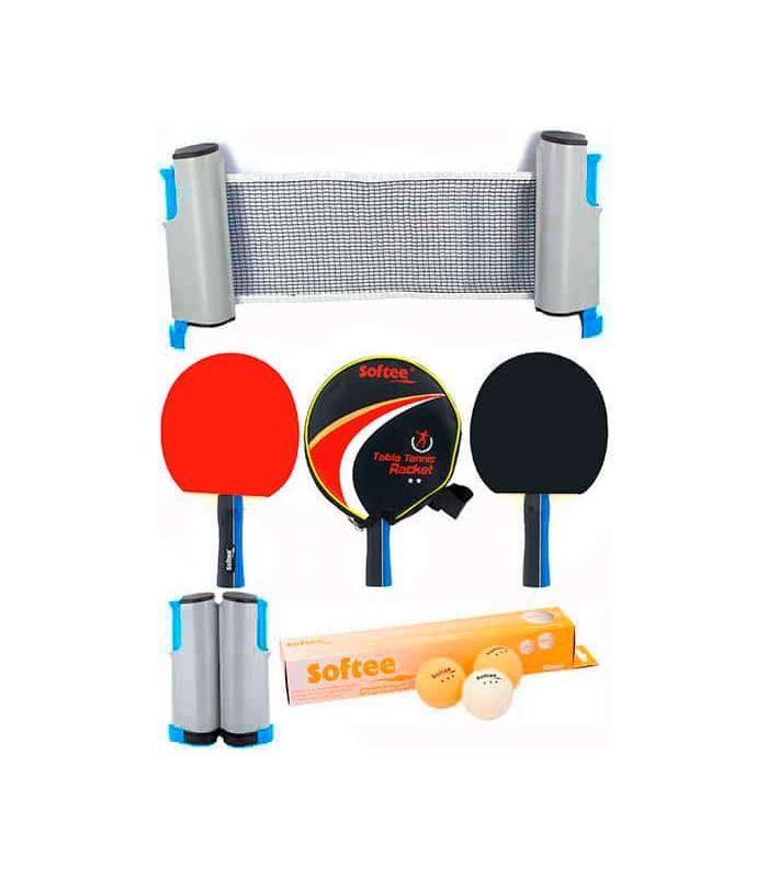 Super Set Ping Pong P300 Softee Palas Tenis Mesa Tenis Mesa Color: negro