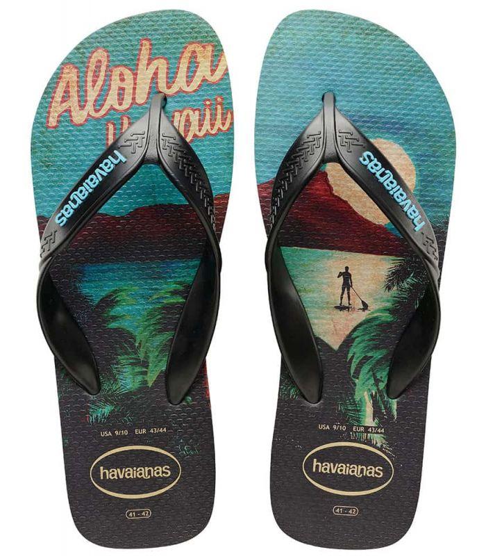 Tienda Sandalias / Chancletas Hombre - Havaianas Aloha Surf negro Sandalias / Chancletas