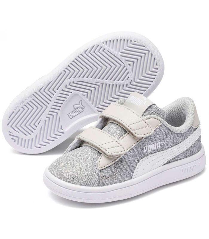 Puma Smash v2 Glitz Glam V Inf Grey Puma Casual Shoe Baby Lifestyle Sizes: 19, 21, 22, 23, 25, 26, 27; Color: gray