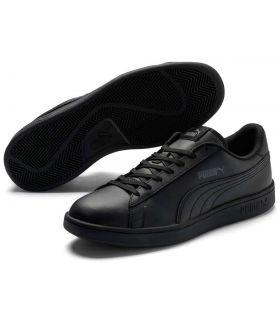 Puma Smash v2 Leather Black Puma Shoes Casual Man Lifestyle