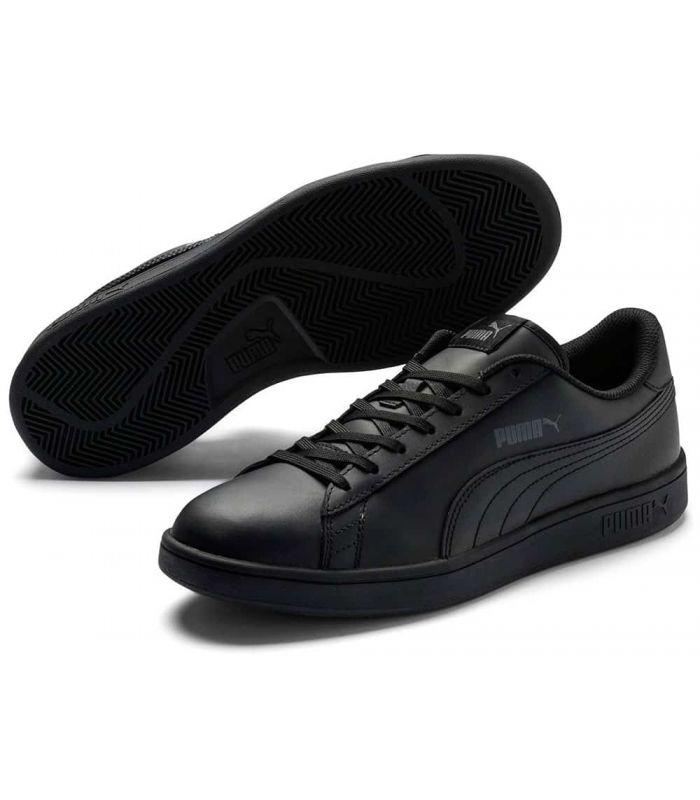 Puma Smash v2 Noir en Cuir Chaussures Puma Casual Homme Lifestyle Tailles: 41, 42, 42,5, 43, 44, 44,5, 45, 46; Couleur: