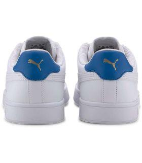 Puma Smash v2 Cuir Blanc Bleu Chaussures Puma Casual Homme Lifestyle