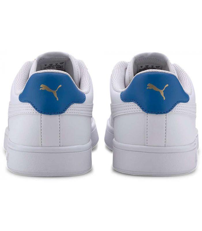 Puma Smash v2 Leather Blanco Azul - Calzado Casual Hombre