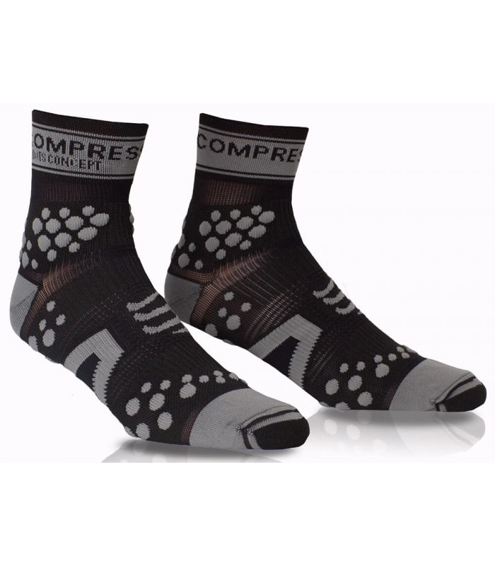 Compressport Pro Racing Socks V2 Trail High Negro Gris Compressport Calcetines Trail Running Zapatillas Trail Running