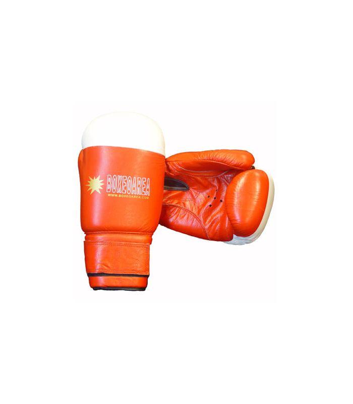 Gants de boxe BoxeoArea 1803 cuir rouge