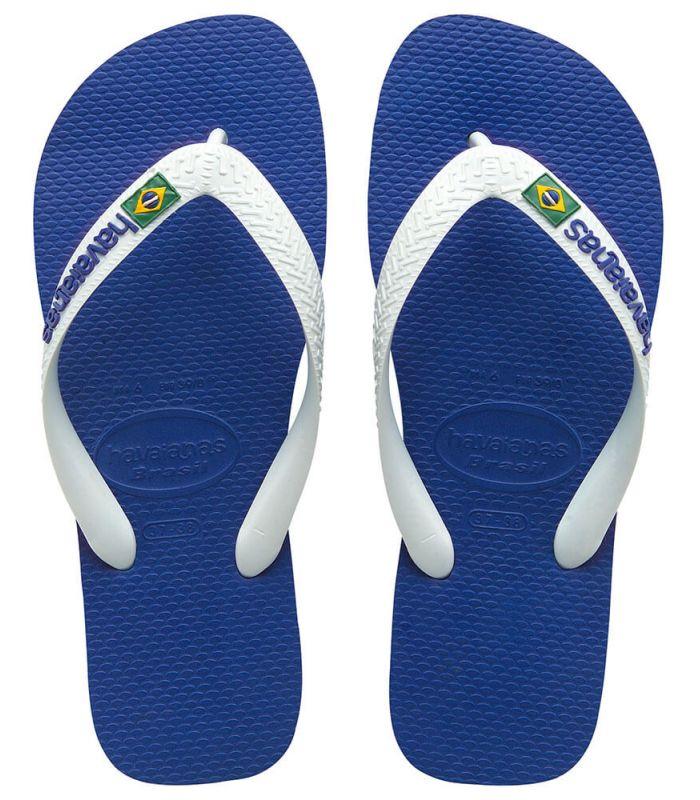 Havaianas Brazil Logo Blanc Bleu